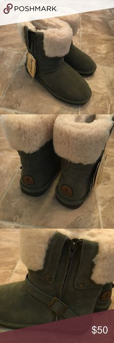 NEW Green BearPaw Boots NEW Green BearPaw Boots; Suede Upper and Wool Blend Lining BearPaw Shoes Winter & Rain Boots