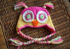 Crochet owl hat made using the free pattern.