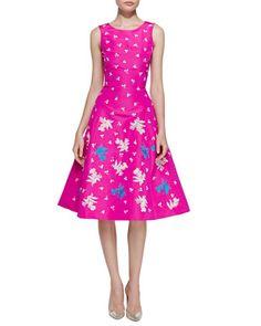 Sleeveless Embroidered Cocktail Dress, Shocking Pink by Oscar de la Renta at Bergdorf Goodman.