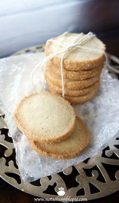 "Not So Humble Pie: Cardamom Shortbread Cookies yields 5 dozen 2"" cookies 227g bread flour 227g cake flour generous pinch salt 312g butter, cool but pliable enough to beat* 340g sugar 57g egg yolks 1 1/2 teaspoons ground cardamon 1 teaspoon vanilla paste or vanilla extract egg white turbinado sugar"