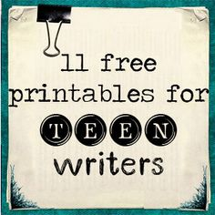 You'll find all these in the Extras section of Go Teen Writers: How to Turn Your First Draft Into a Published Book, but here they are in a printable form for your convenience!