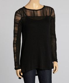 Black Semi-Sheer Pullover Sweater #zulily #ad *pretty