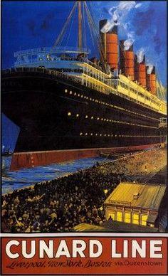 """""""Cunard Line"""" travel poster"""