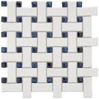 Merola Tile Basket Weave Bone and Black 9-3/4 in. x 9-3/4 in. Porcelain Mosaic Floor and Wall Tile FKOBWM69 at The Home Depot