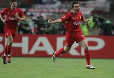 ISTANBUL, TURKEY - MAY 25: Liverpool midfielder Vladimir Smicer of Czech Republic (R) celebrates his goal with Liverpool captain Steven Gerrard during the European Champions League final between Liverpool and AC Milan on May 25, 2005 at the Ataturk Olympi
