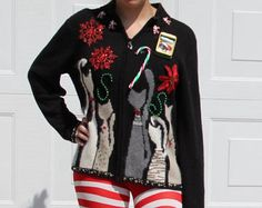 Crazy Cats Hilarious Funny Tacky Ugly Sexy Cardigan Sweater Womens Large