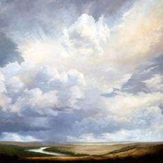 "Landscape Paintings and photographs : Vantage ARTIST: Victoria Adams ""It's cloud illusions I recall. Watercolor Clouds, Art Watercolor, Watercolor Landscape, Abstract Landscape, Landscape Paintings, Cloud Art, Sky Painting, Wow Art, Sky And Clouds"