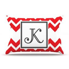 KESS InHouse Monogram Chevron Red Pillow Case Size: King, Letter: M