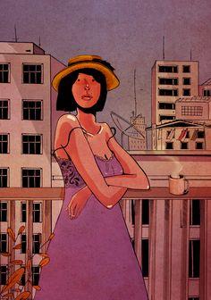 Direto de Jau, Brasil, Anthony Mazza trabalha em suas ilustrações e quadrinhos.