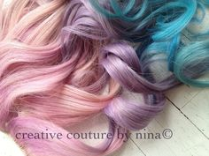 Dip Dye Pastel Pink, Purple and Blue Ombre Extensions