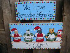 Personalized Christmas Grandparent Cat Plaque by LazyHoundWorkshop, $16.00