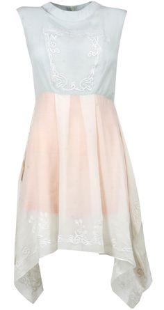 Powder blue and peach draped dress by MORPHE BY SHENALI SEMA. Shop at http://www.perniaspopupshop.com/whats-new/morphe-by-shenali-sema-6746