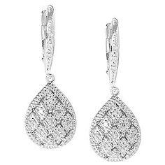 "Diamond Treasures® Sterling Silver 1.25"" 0.18ctw Round Diamond Teardrop Earrings"