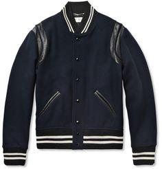 Saint LaurentLeather-Trimmed Wool-Blend Varsity Jacket|MR PORTER