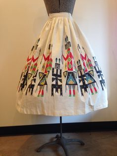 1950s Novelty Print Cotton Skirt / Kachina by wanderlustmobileshop