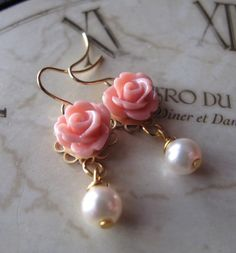 Pale Coral Rose Earrings White Pearl Earrings by Gingeroni1, $18.00