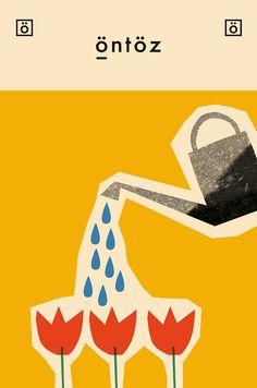 Anna Kövecses Tulips Card by 1973 Children's Book Illustration, Graphic Design Illustration, Digital Illustration, Graphic Artwork, Creative Illustration, Artwork Design, Book Design, Cover Design, Time Design