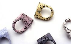 Coloured concrete rings by Australia's Vikki Kassioras.