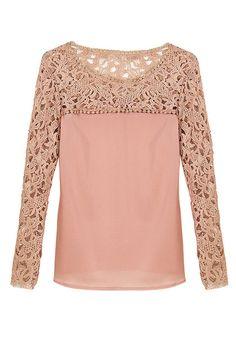 Pink Crochet Shoulder Top