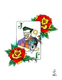 """Joker's Wild""  Batman Animated Series homage tattoo design"