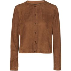 Vanessa Seward Balard suede jacket (€1.150) ❤ liked on Polyvore featuring outerwear, jackets, brown, suede leather jacket, vanessa seward, brown cropped jacket, suede jacket and brown jacket