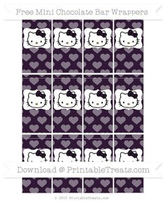 Free Dark Purple Heart Pattern Hello Kitty Mini Chocolate Bar Wrappers