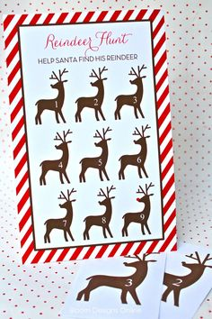 Reindeer scavenger hunt game--print the reindeer, cut out, and hide around the yard (or classroom) for the kids to find.