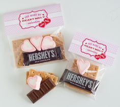 Valentine S'mores Packs by Anders Ruff: heart marshmallows + mini Hershey bars from Dollar Tree!