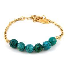 Turquoise Stone Gold Chain Bracelet $55