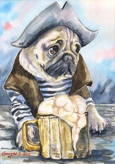 Pug the sailor  Print of the Original от GeorgeWatercolorArt