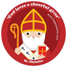 Nicholas - is popularly known as Santa Claus but he was an actual Bishop from Asia Minor (in modern day Turkey)! Although his family was wealthy, he was kind and generous. St Nicholas Day, Kind And Generous, Catholic Saints, Christen, Round Stickers, Christmas Traditions, Unisex, Custom Stickers, Activities For Kids