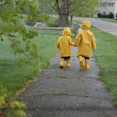 Bright yellow rain slickers and boots to walk back and forth to school