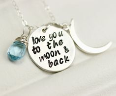 Silver I love you to the moon and back mothers birthstone necklace