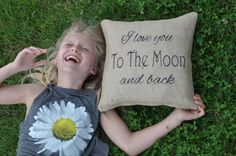 I love you to the moon and back pillow baby gift by VintageDayz, $25.00 #weddingpillow #showerpillow #personalizedpillow #love