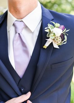 Fun summer wedding colors with a navy suit and purple tie as well as a green, white and purple boutineer at Hawthorne House! Photographed by Sarah Rieth Photography Hawthorne House, Summer Wedding Colors, Reception, Suits, Navy, Purple, Green, Fun, Photography