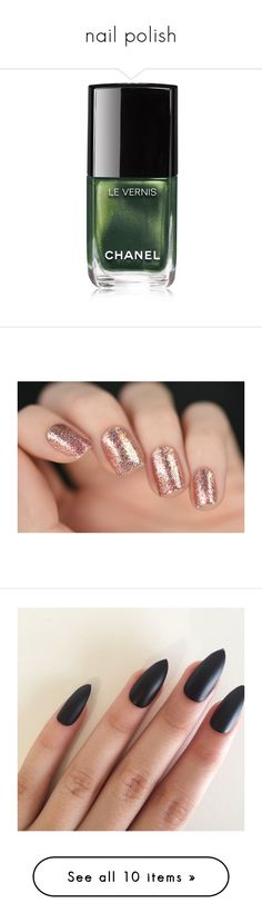 """""""nail polish"""" by boom-with-red-eyes ❤ liked on Polyvore featuring beauty products, nail care, nail polish, nails, beauty, makeup, esmaltes, filler, green and chanel nail lacquer"""