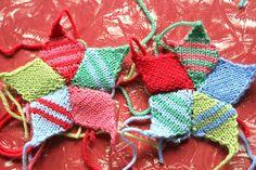 Knitted diamond star. Beautiful colors.