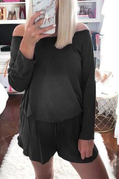 The maternity casual off shoulder pure color long sleeve romper is a good choice of fashion and you will love it. Maternity Jumpsuit, Casual Maternity, Long Sleeve Romper, Bell Sleeve Top, Dress Shoes, Shoes Heels, Rompers, Pure Products, Design Model