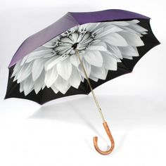 Umbrella - Purple exterior with white flower interior and Wooden Handle