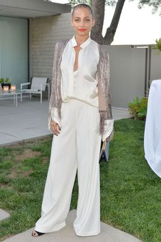 Wide leg pants and a silk blouse.