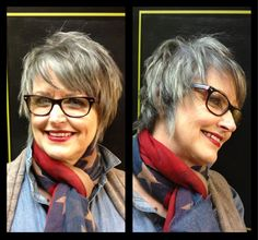 Short edgy haircut - Growing out gray - White hair - Haircut and color by Vicki at Salon Brands Wichita KS