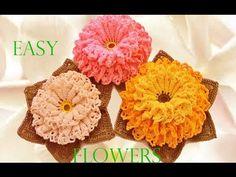 Como tejer fácil y rápido flores con hojas en una sola tira - Make Knitting crochet easy - YouTube