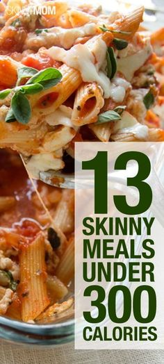 FOOD: 13 Skinny Meals Under 300 Calories. Finding tasty meals under 300 calories isn't as hard as it seems. With the right combination of protein, vegetables, complex carbs and healthy fats, 300 calorie meals are delicious and filling. No Calorie Foods, Low Calorie Recipes, Diet Recipes, Cooking Recipes, Locarb Recipes, Bariatric Recipes, Atkins Recipes, Quick Recipes, Diabetic Recipes