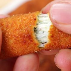 Spinach Dip Mozzarella Sticks Recipe by Tasty Appetizer Recipes, Snack Recipes, Cooking Recipes, Spinach Appetizers, Cooking Videos, Food Videos, Tasty Videos, Spinach Dip, Appetisers