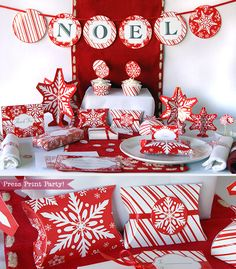 Christmas Party Printables  Red Snowflakes  by PressPrintParty