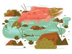 Happy Salmon by MUTI #Design Popular #Dribbble #shots