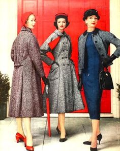 Great tweed filled 1950s cold weather looks. #vintage #fashion