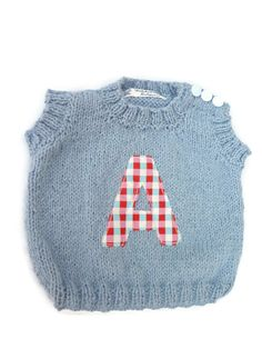 Baby Sleeveless Top and Jeans Set with Initial A / by KidsKnitsUK