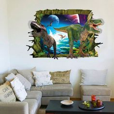 89.4cm*58.4cm dinosaurs wall stickers jurassic park home decoration cartoon living room animals print decals mural art poster