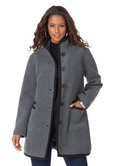 Flatter yourself in Roaman's plus size Piping Detail Coat this winter! The perfect holiday accessory.